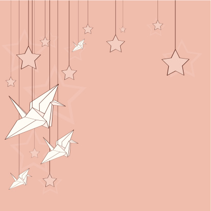 Card with origami cranes