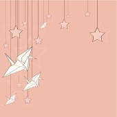 Background with origami cranes, stars and copy space. Easy edited with layers and global colors. Hi-res jpeg in attachment.