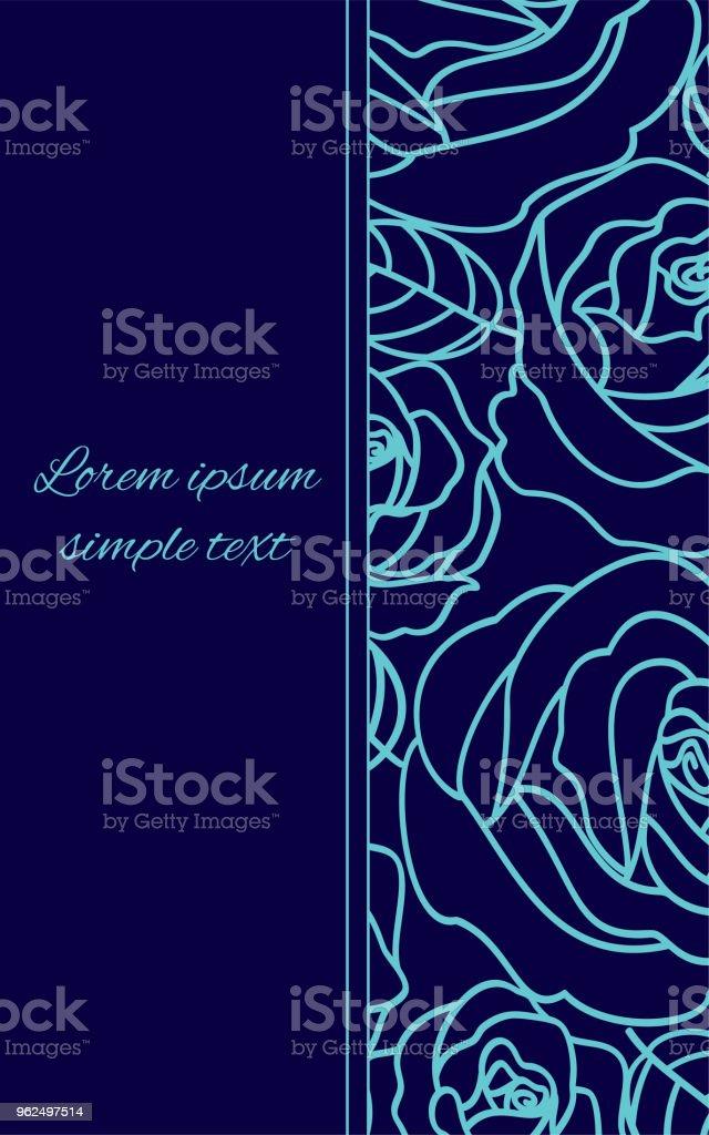 Cartão com rosas de contorno azul pálido sobre o azul de Marinha - Vetor de Aniversário royalty-free
