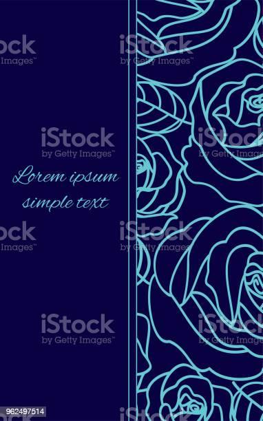 Vetores de Cartão Com Rosas De Contorno Azul Pálido Sobre O Azul De Marinha e mais imagens de Aniversário