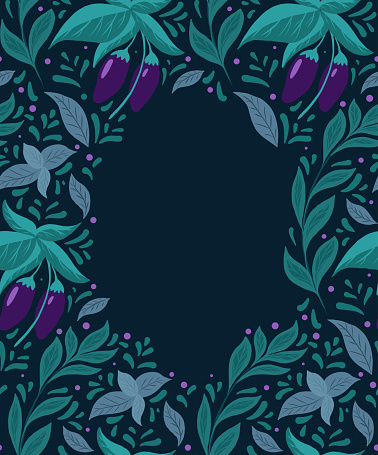 Card with pattern of eggplants on the bushes, basil twigs and doodle decoration with copy space on dark background. Vector natural flat card. Gardening.