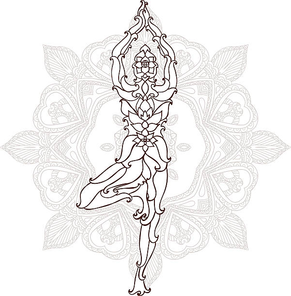 karte mit yoga-pose-ornament - mantra stock-grafiken, -clipart, -cartoons und -symbole