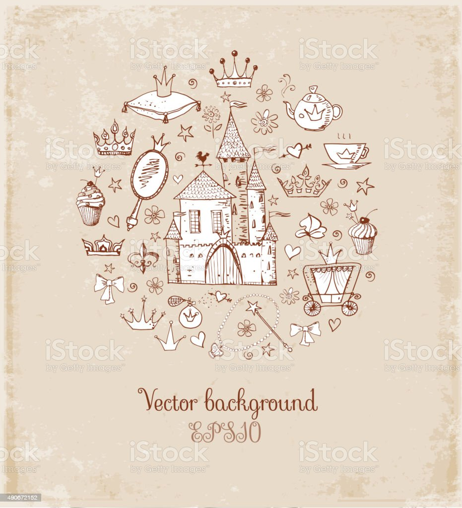 Card with princess accessories. vector art illustration