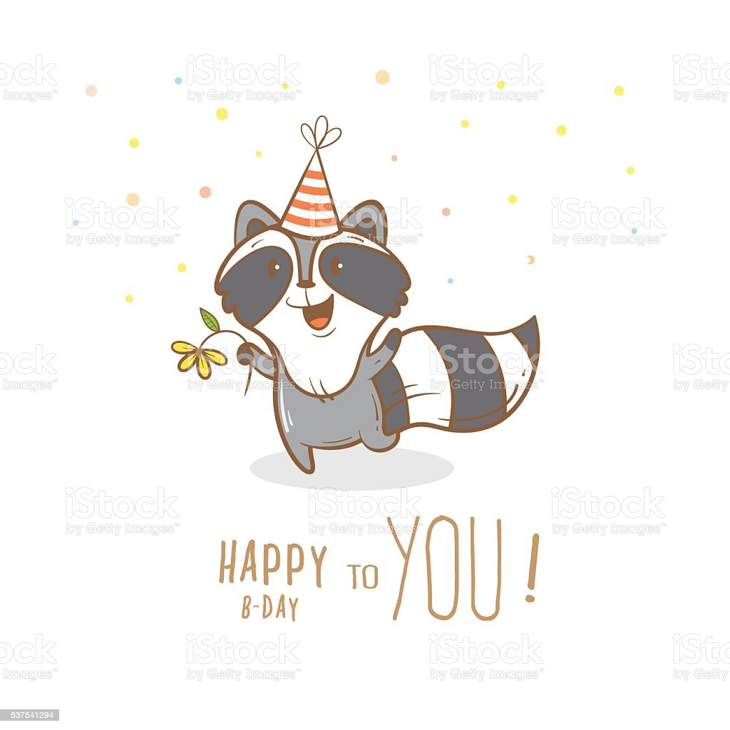 Card with raccoon. vector art illustration