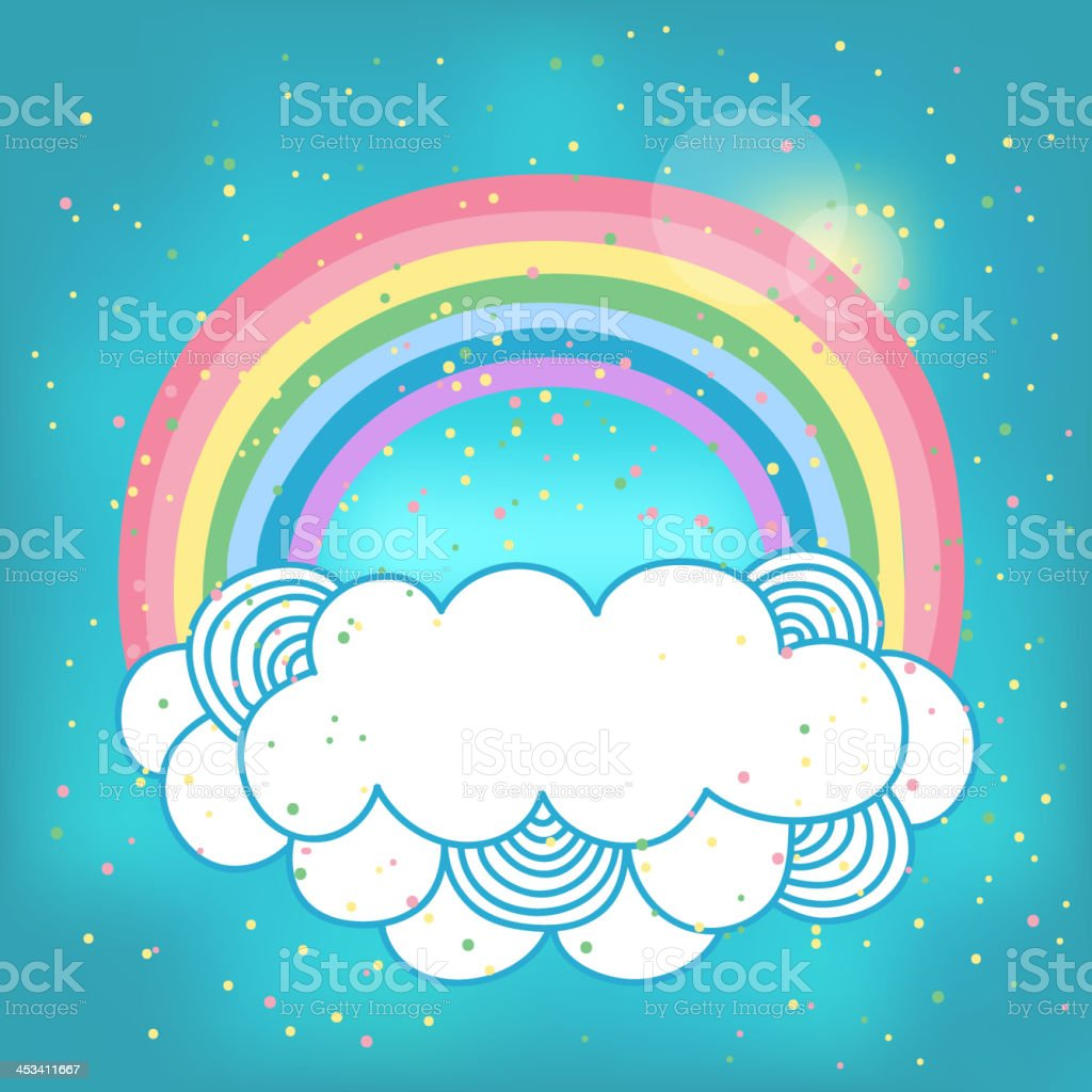Card with rainbow and cloud. vector art illustration