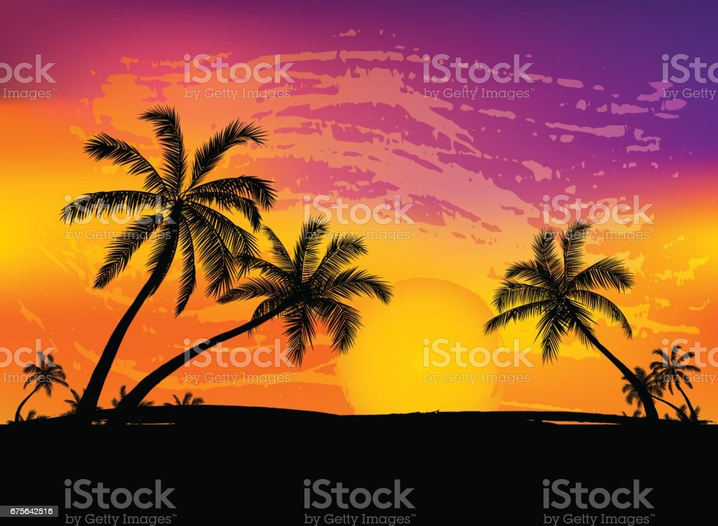 Card with realistic palm trees silhouette on tropical grunge sunset beach background.