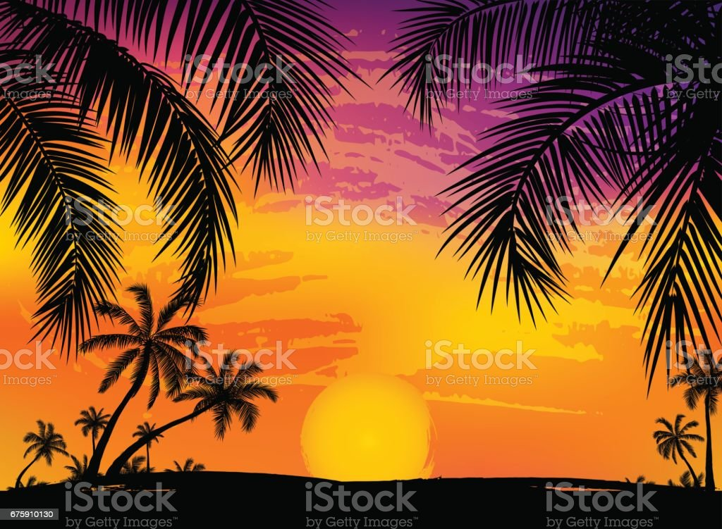 Card With Realistic Palm Trees Silhouette On Tropical Grunge Sunset Beach Background Royalty Free
