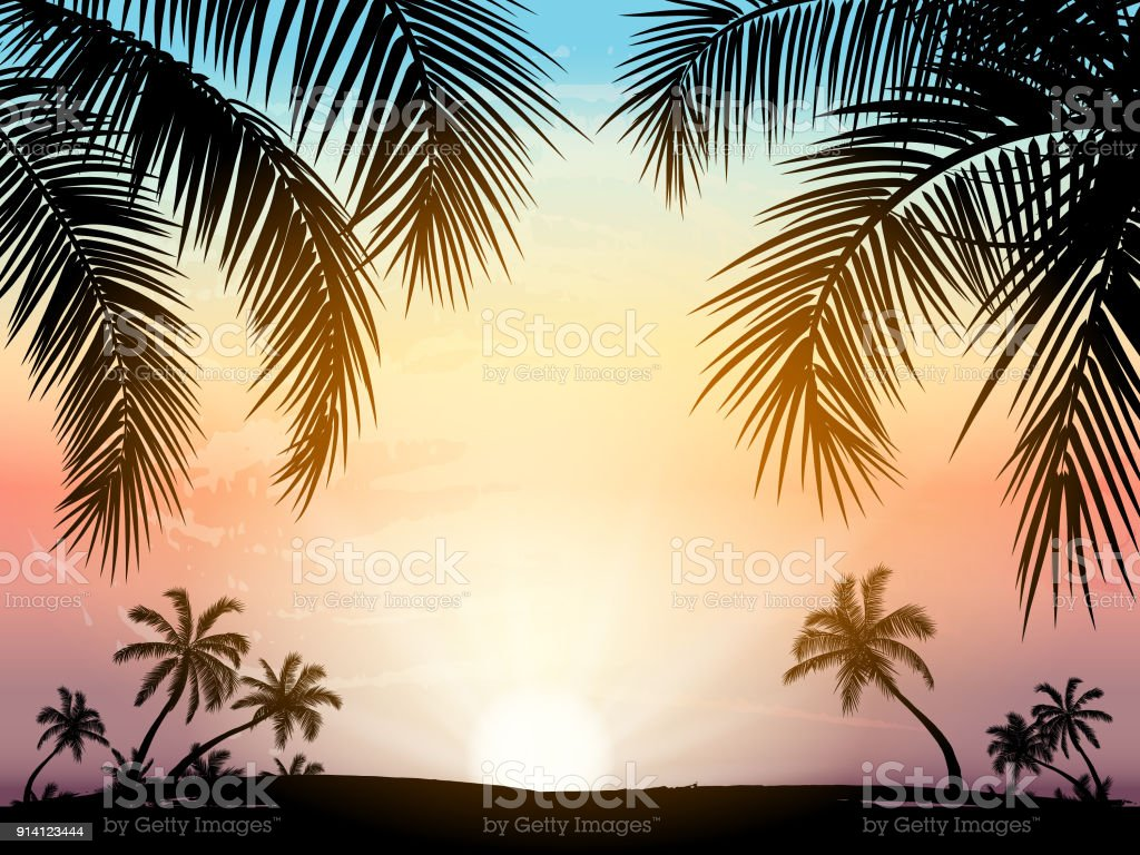 Card with realistic palm trees silhouette on tropical grunge sunset beach background. - Grafika wektorowa royalty-free (Abstrakcja)