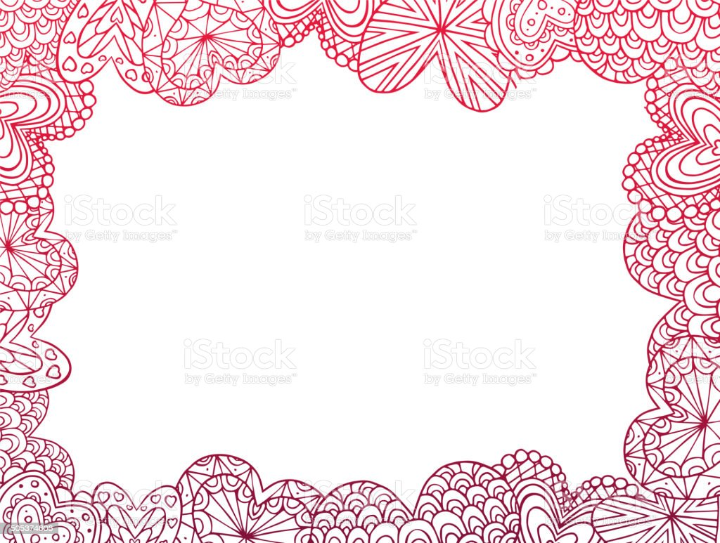 Card with red contours of the doodle hearts vector art illustration