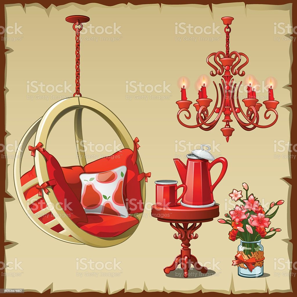 Card with red modern and classic interiors objects