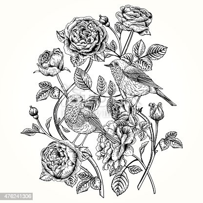 istock Card with roses and birds. 476241306