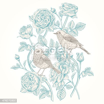 istock Card with roses and birds. 476270302