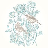 Vector vintage card with roses and birds.