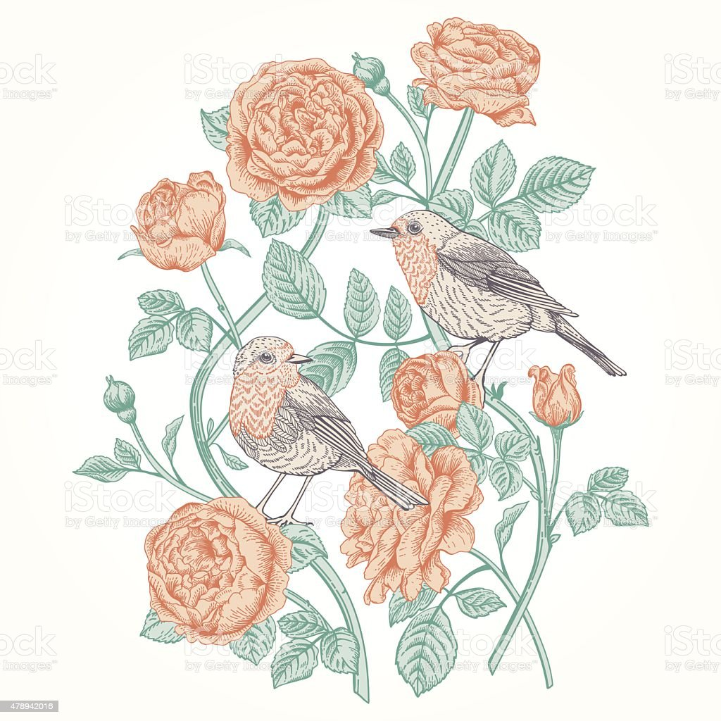 Card with roses and birds. vector art illustration