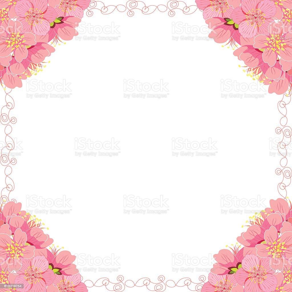 card with sakura cherry blossom corner of. vector illustration vector art illustration