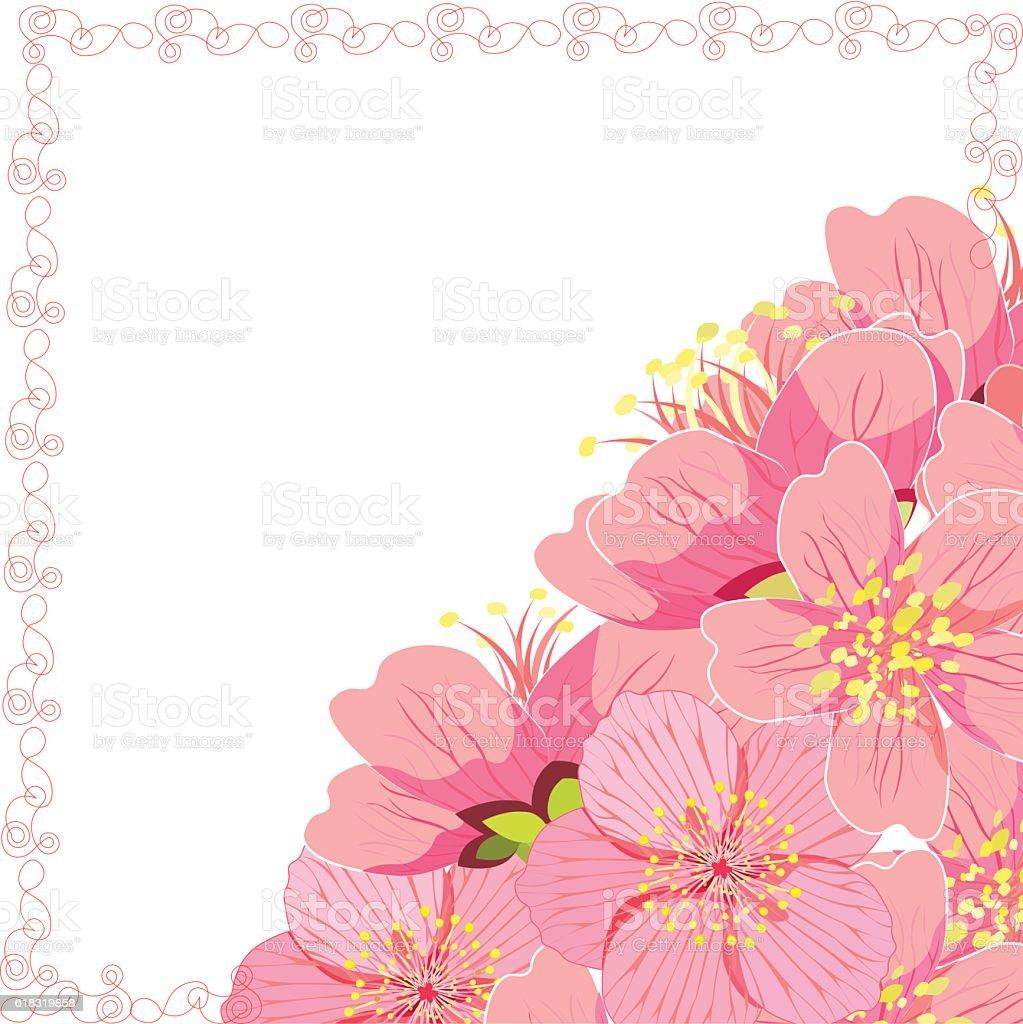 card with sakura cherry blossom corner. vector illustration vector art illustration