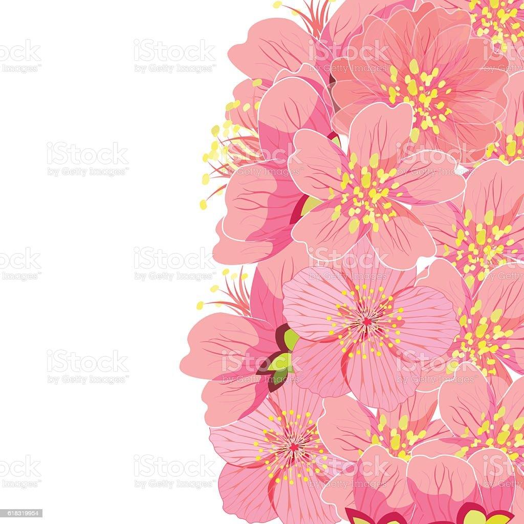 card with sakura cherry blossom. vector illustration vector art illustration