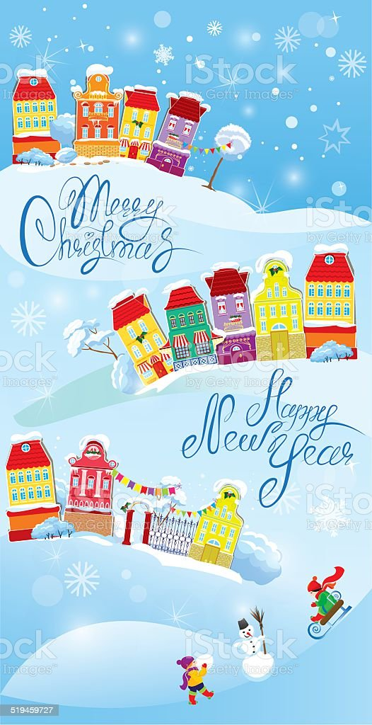card with small fairy town christmas and new year design royalty free card with