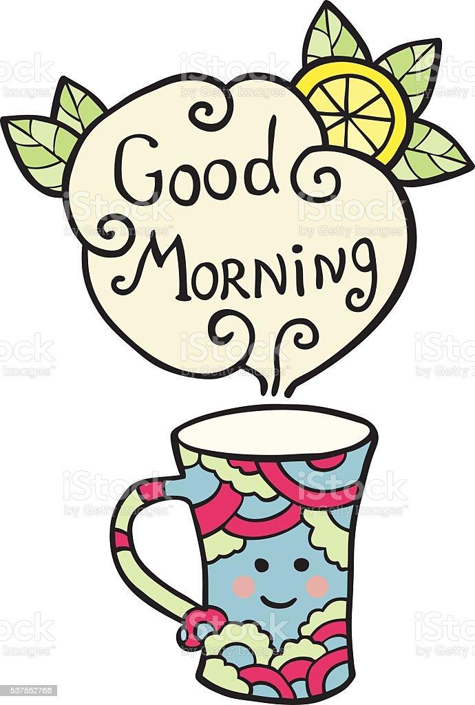 Karte Mit Smiley Tee Und Text Guten Morgen Stock Vektor Art