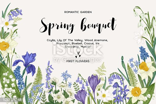 istock Card with spring flowers. 1222171148