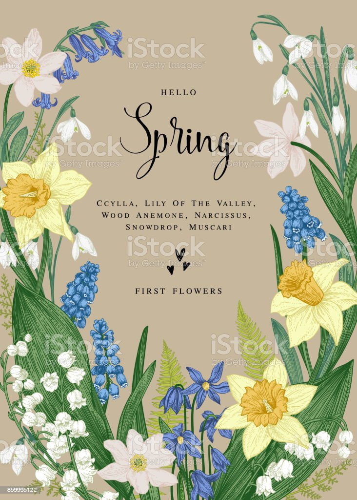 Card with spring flowers.