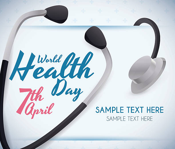 Card with Stethoscope Commemorating World Health Day Fancy World Health Day reminder template with stethoscope. world health day stock illustrations