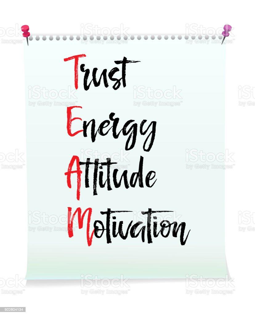 Carte Avec Message Dequipe Trust Energie Attitude Motivation Concept