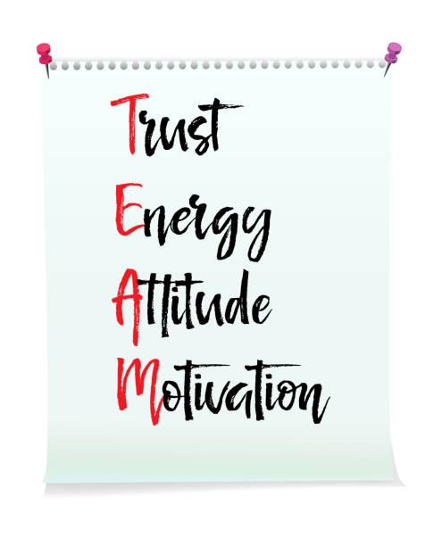 karte mit vertrauen energie haltung teammotivation nachricht, business-konzept - trust stock-grafiken, -clipart, -cartoons und -symbole