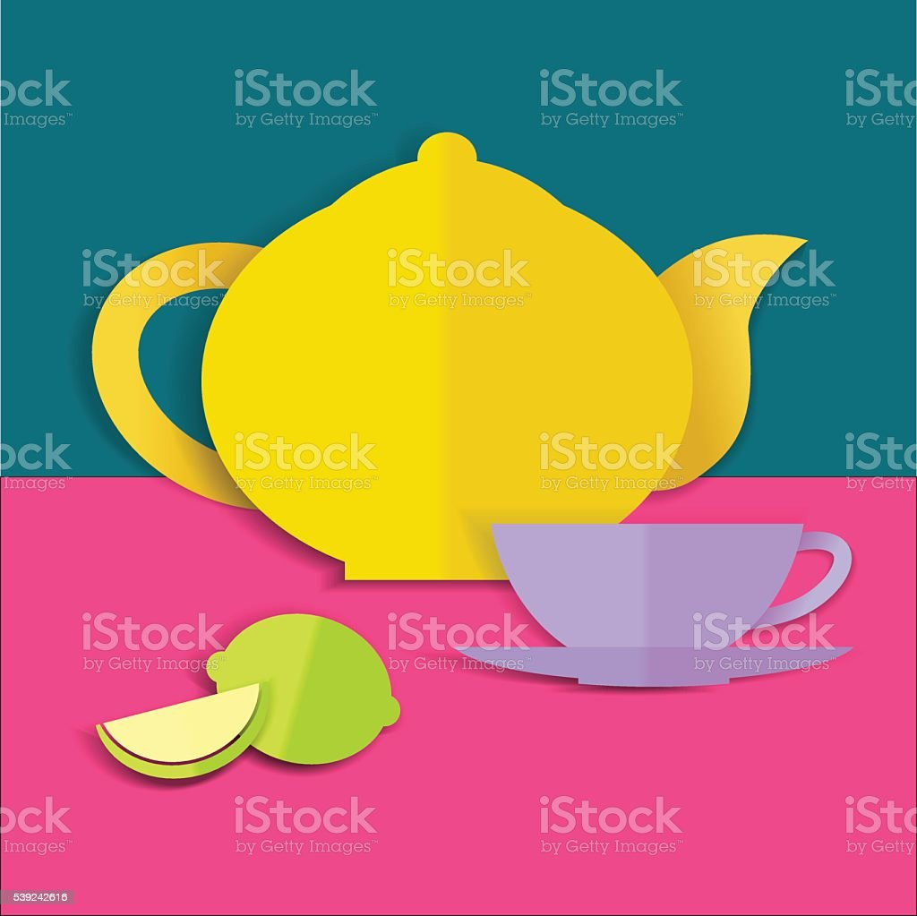 Card with teapot, cup and lemon royalty-free card with teapot cup and lemon stock vector art & more images of art