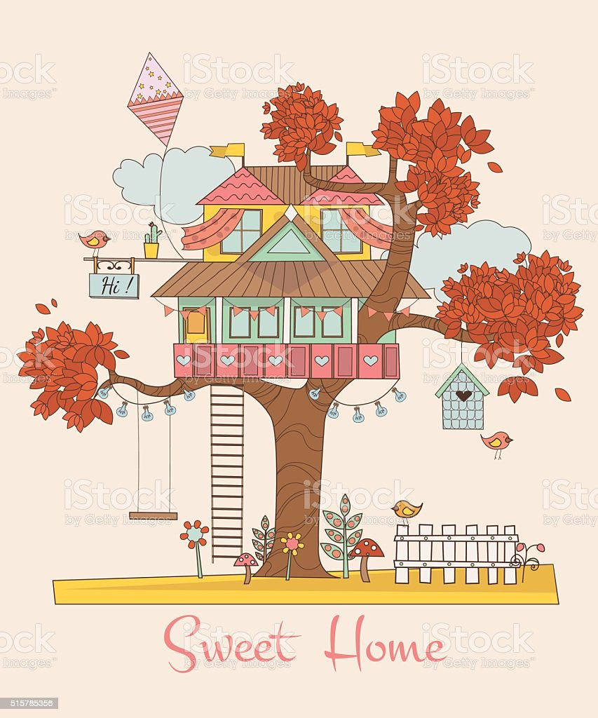 Card with the Tree House. Background with cute birds, flowers.