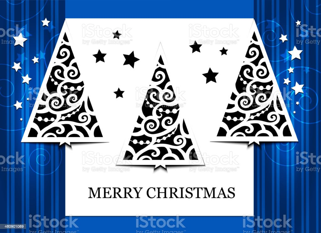 Card with three fir-trees royalty-free card with three firtrees stock vector art & more images of abstract