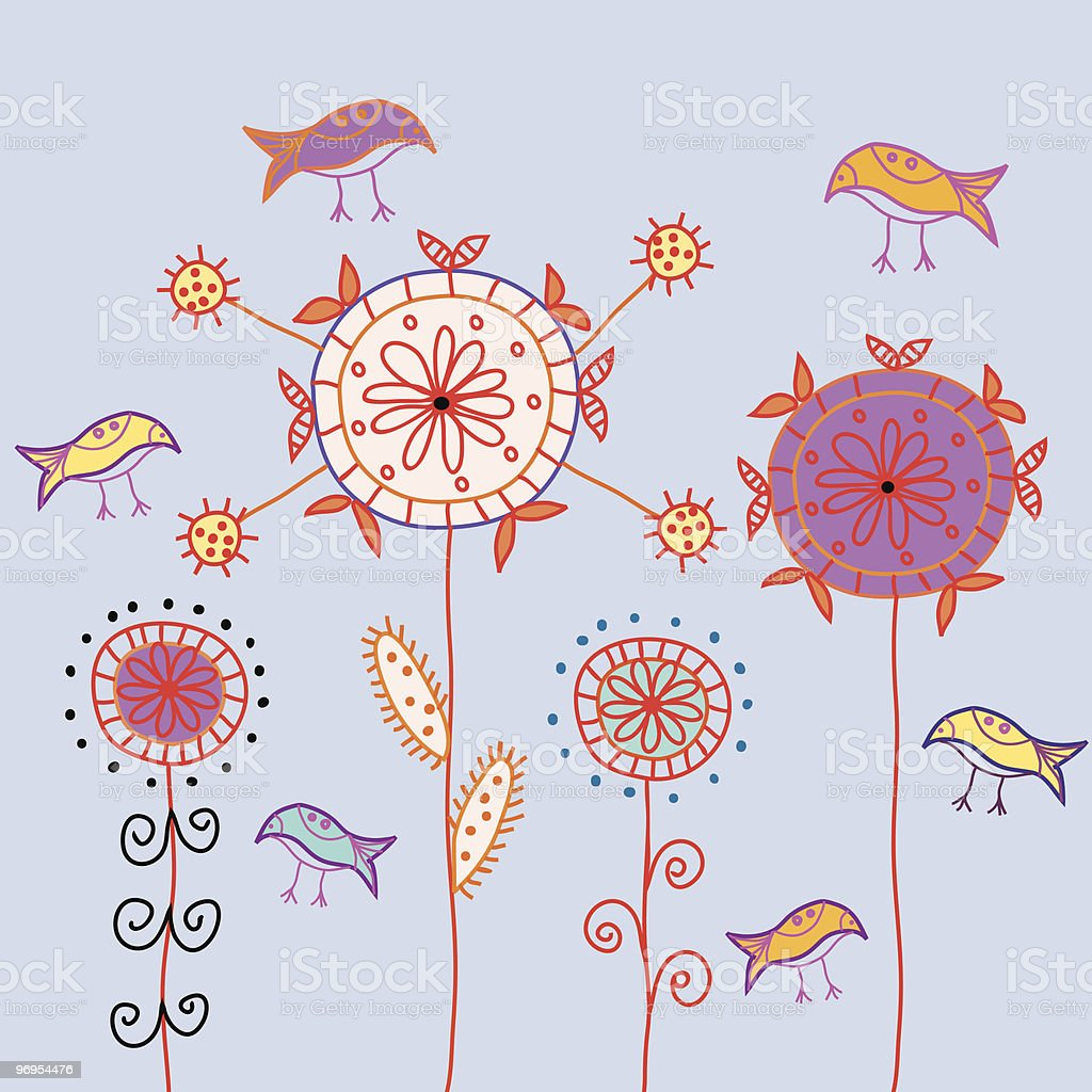 Card with traditional stylized flowers and birds royalty-free card with traditional stylized flowers and birds stock vector art & more images of bird