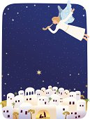 Card with trumpeting angel announcing birth of Jesus