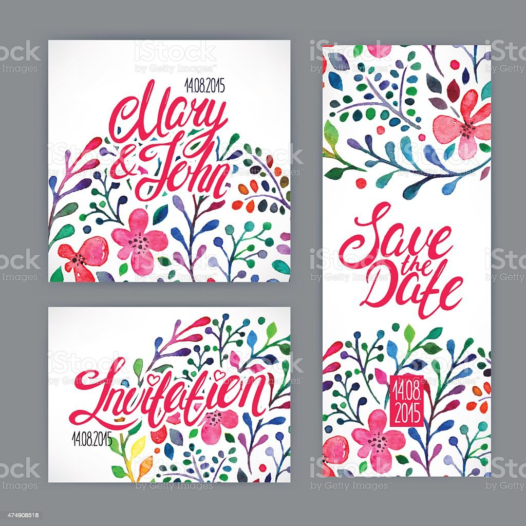 card with watercolor flowers vector art illustration