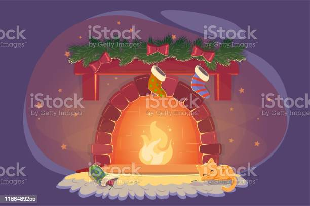 Card with xmas fireplace and sleeping cat celebration decoration vector id1186489255?b=1&k=6&m=1186489255&s=612x612&h=ha9eyhysfjuv6rpbwa95b ft bmo0lindbwz7fm52c8=