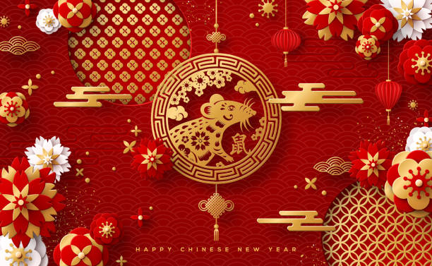 조디악 쥐와 카드 - chinese new year stock illustrations