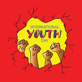 Card,banner or poster for international youth day.