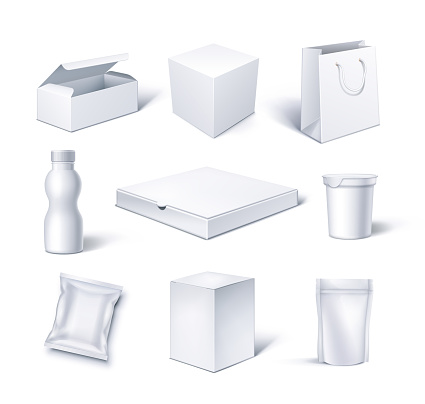 Cardboard and Plastic Packaging Blank for Goods and Food Mockup