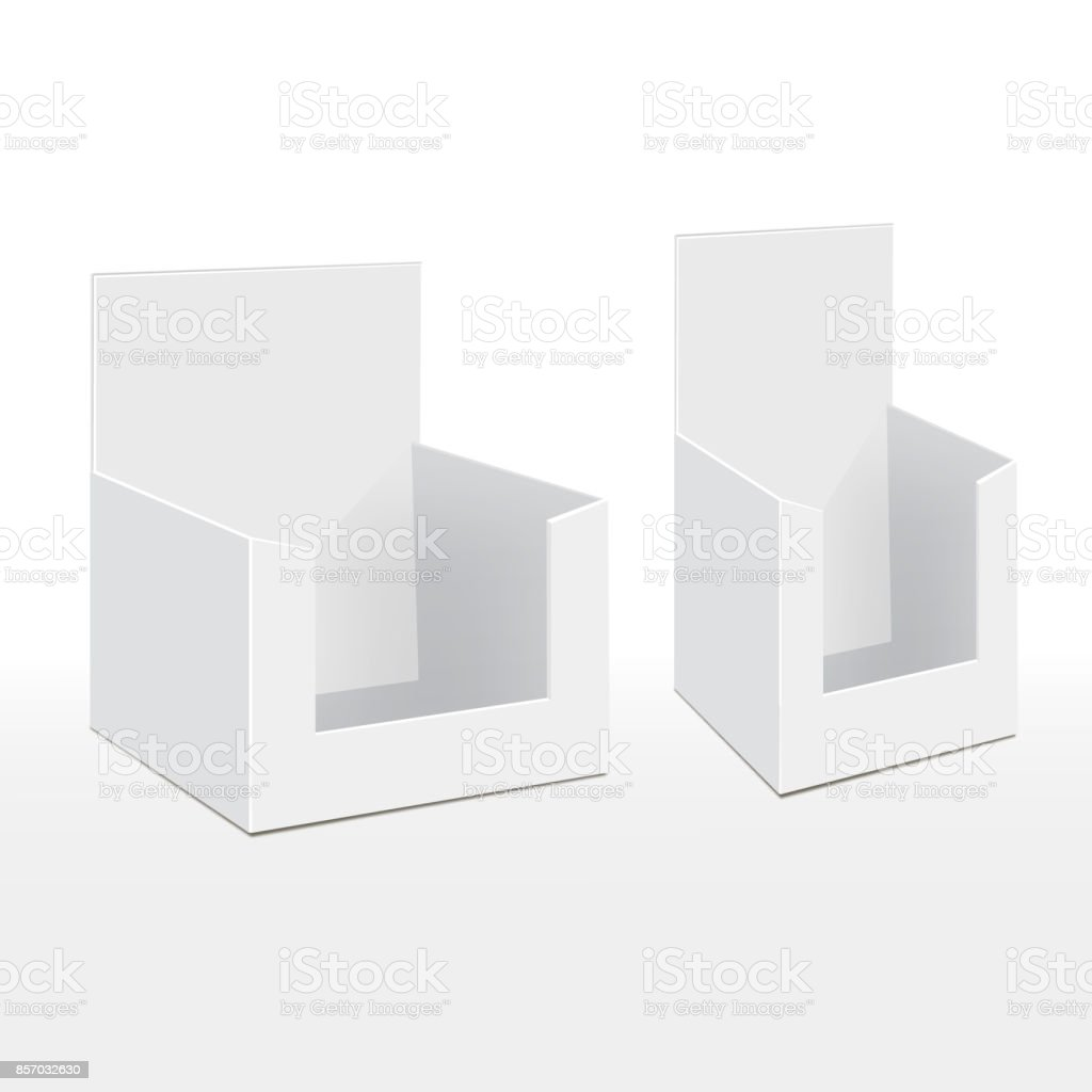 Cardboard Blank Empty Display Show Box Holder For Advertising Fliers, Leaflets, Products. Illustration Isolated On White Background vector art illustration