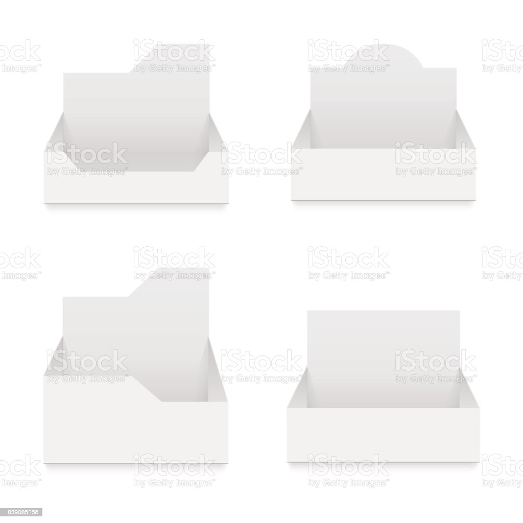 POS POI cardboard blank empty display show box holder. Vector mock up template ready for your design. vector art illustration