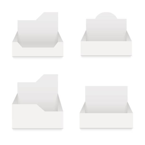 pos poi karton leer-leer-anzeige zeigen box halter. vektor mock-up vorlage bereit für ihr design. - markenbrillen stock-grafiken, -clipart, -cartoons und -symbole