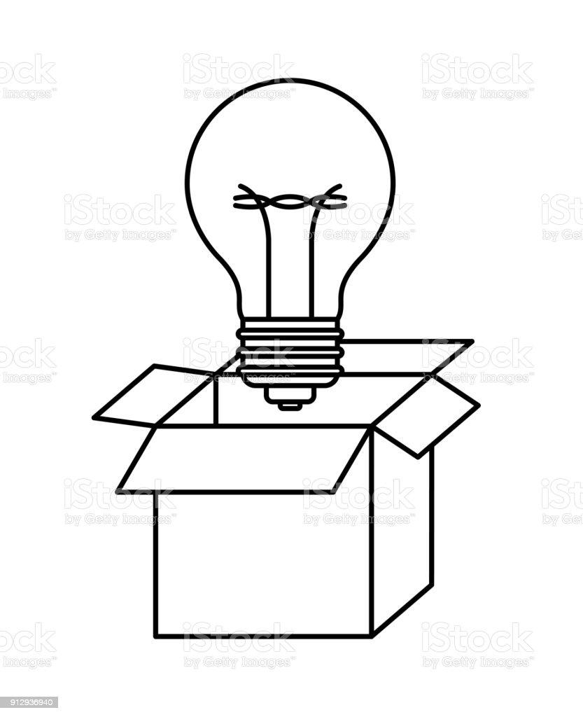 Stock Schwarze Kontur Karton Und Glühbirne Vektor Art Mehr In vmwn0N8