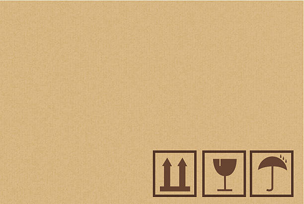 Cardboard Box Background With Icons Cardboard box background with shipping icons. cardboard box stock illustrations