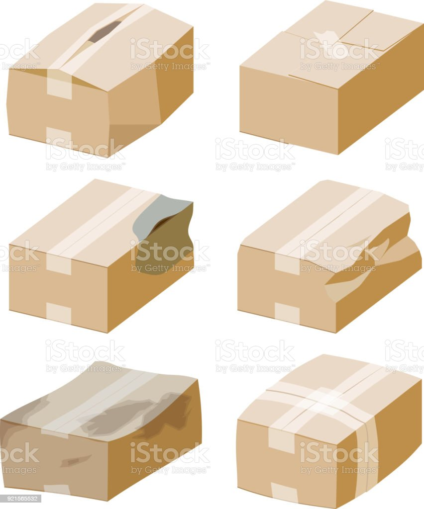 Cardboard box. Bad packaging. vector art illustration