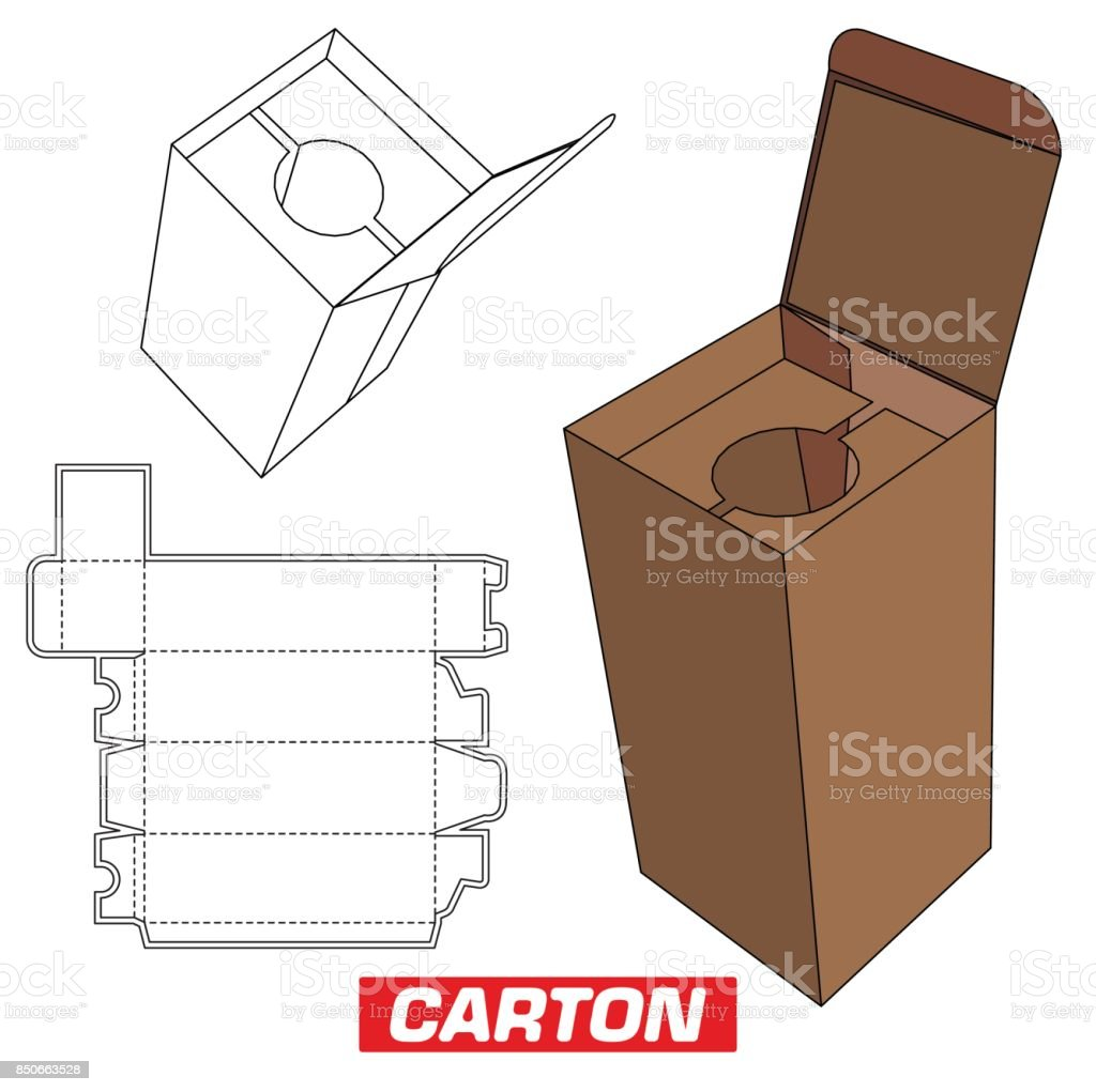 Cardboard Box Cutting Box With Handle Stock Illustration