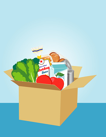 Cardboard Box Filled With groceries