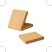 Cardboard box for pizza, vector illustration