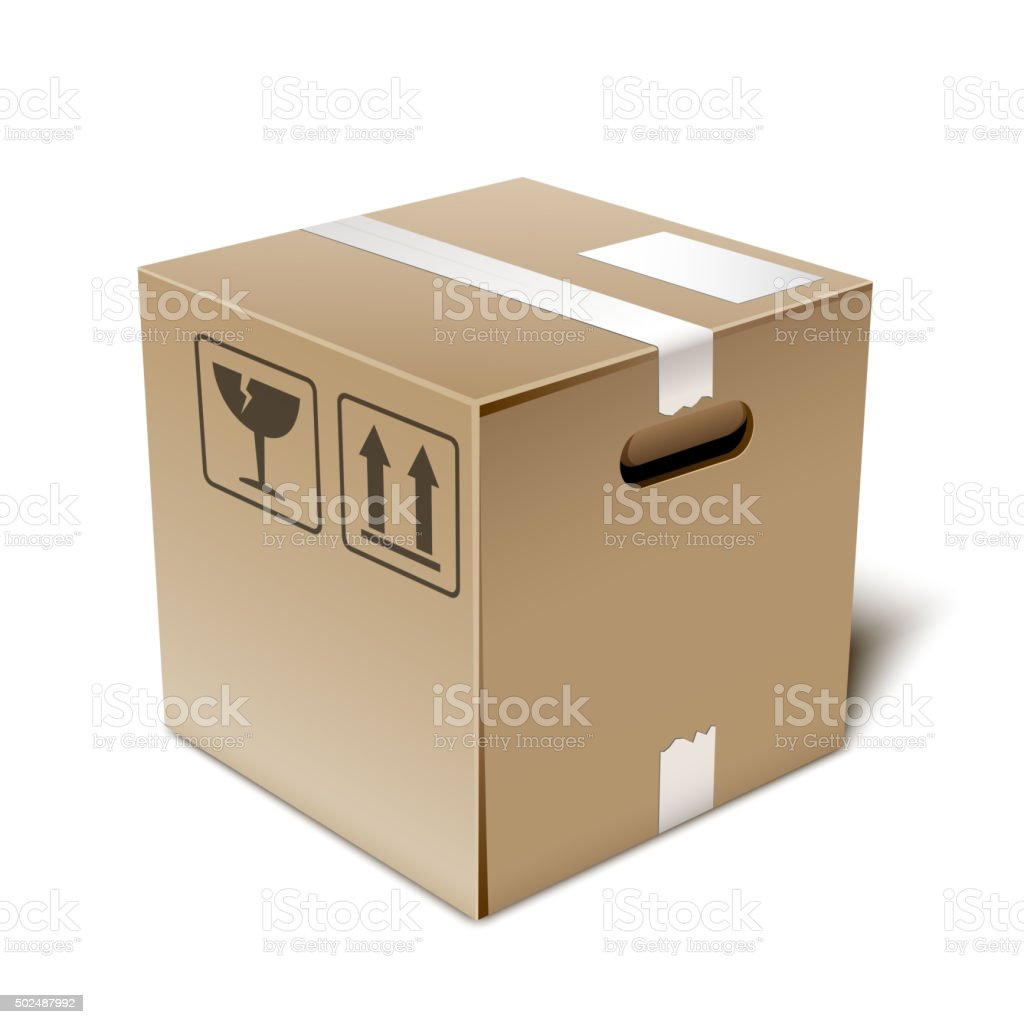 Cardboard box icon, vector illustration vector art illustration