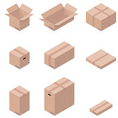 Different types of cardboard boxes in isometric projection