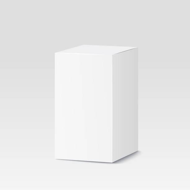 Cardboard box auf weißem Hintergrund. Weißen Behälter, Verpackung. Vektor-illustration – Vektorgrafik